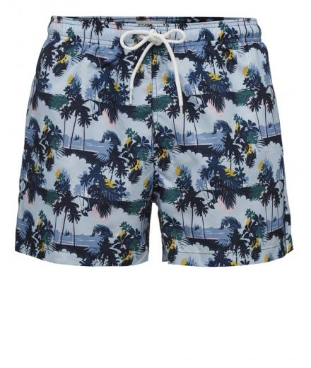 Knowledge Cotton Apparel Palm printed swimshorts - GRS