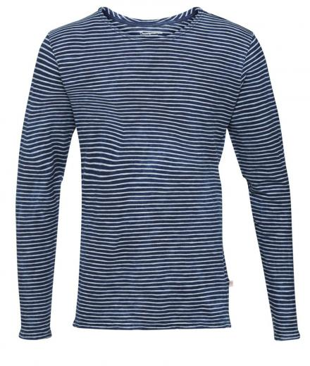 Knowledge Cotton Apparel Yarndyed Striped Indigo Long Sleeve T-Shirt