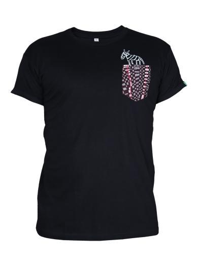 Kipepeo Clothing T-Shirt Taschentierchen Taschen-Zebra schwarz | S