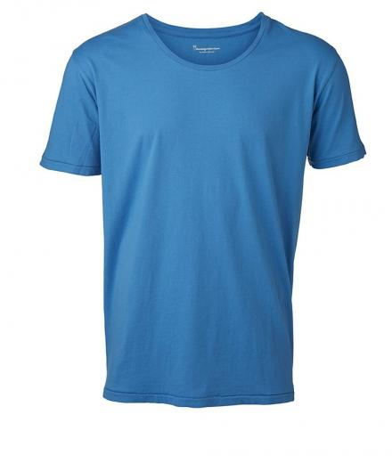 Knowledge Cotton Apparel Basic Regular Fit O-Neck Tee Mediterranan Blue | L
