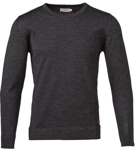 Knowledge Cotton Apparel Basic Round Neck M | darkgrey melange