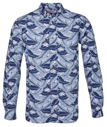 Knowledge Cotton Apparel Poplin Shirt W/Plam Print
