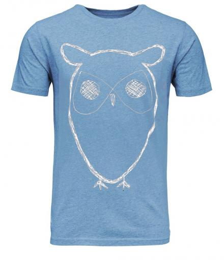 Knowledge Cotton Apparel Single Jersey with Owl Print