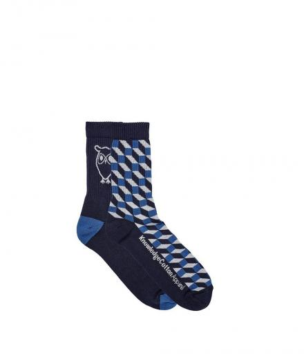 Knowledge Cotton Apparel Tennis Socks 2pack Total Eclipse