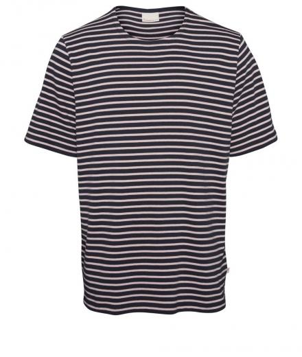 Knowledge Cotton Apparel T-Shirt Striped - Heavy Short Sleeve
