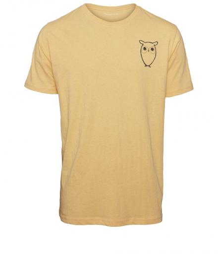 Knowledge Cotton Apparel T-Shirt with Owl Chest Logo Banana Melange | S