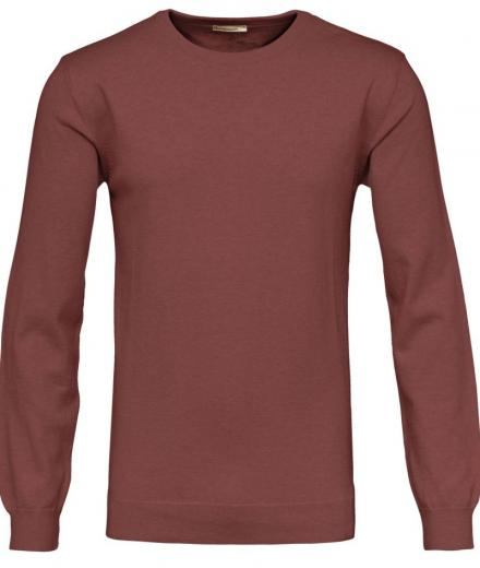 Knowledge Cotton Apparel Basic O-Neck Cotton/Cashmere - decadent chokolade