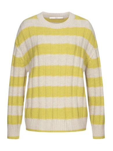 LANIUS Pullover mit Blockstreifen cream mel neon yellow