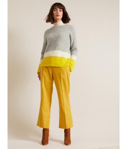 LANIUS Colorblock-Pullover grey melange/yellow