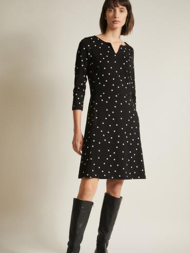 LANIUS Etuikleid pretty dots black/offwhite