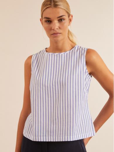 LANIUS Top mit Streifen white azure