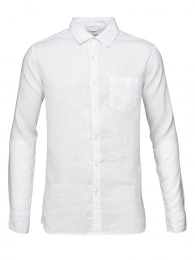 Knowledge Cotton Apparel LARCH LS linen shirt Bright White