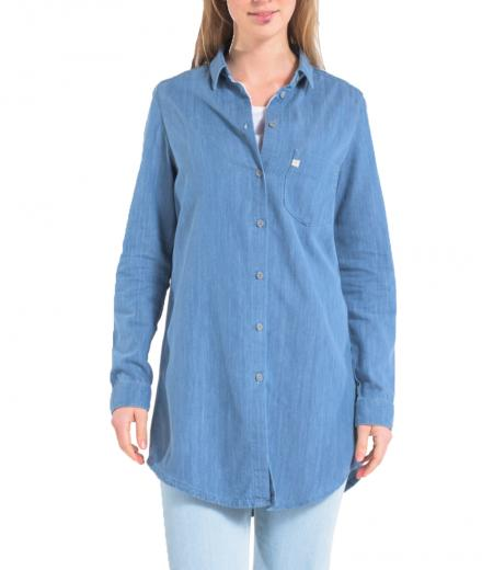 MUD JEANS Kim Long Denim Shirt stone blue