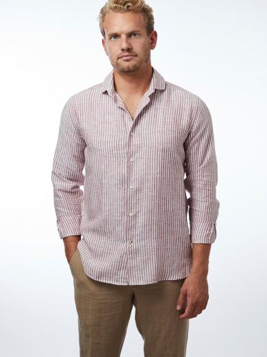 CARPASUS Shirt Linen Stripes Rust