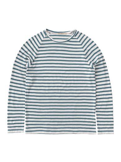 Nudie Jeans Otto Breton Stripe petrolwhite | S