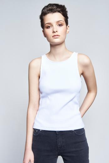 NINE TO FIVE Tank Top #Ammer White L