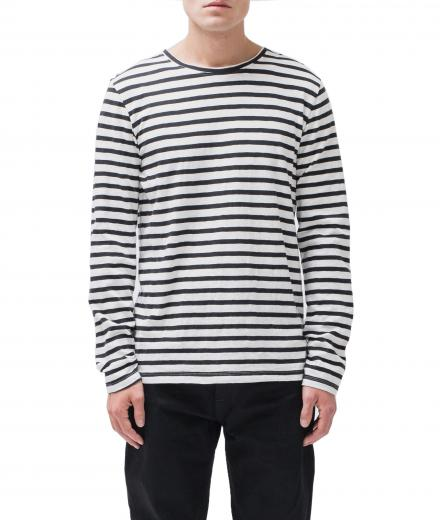 Nudie Jeans Orvar Graphic Stripe off-white / black