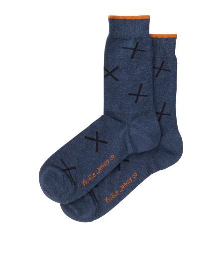 Nudie Jeans Olsson Socks Crosses Blue