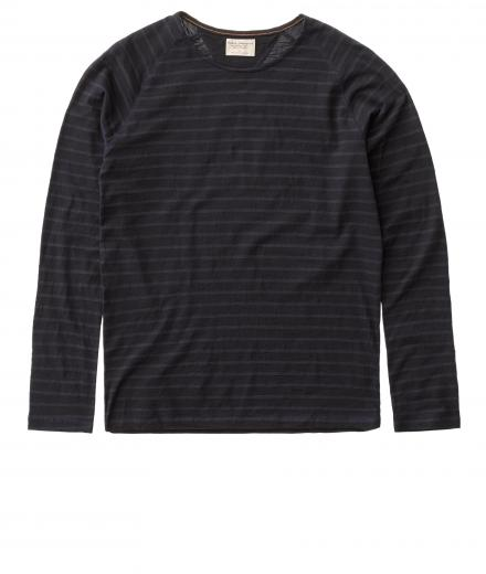 Nudie Jeans Otto Raglan French Stripe black/indigo | S