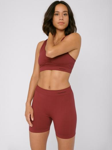 Organic Basics Silver Tech Yoga Shorts Burgundy