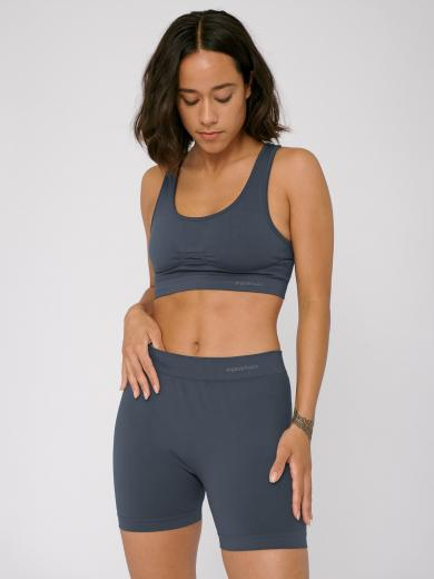 Organic Basics Silver Tech Yoga Shorts Sea Blue