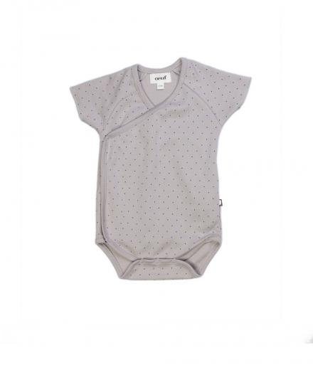 Oeuf Kimono Onesie Light Grey/Blue Dots 6M