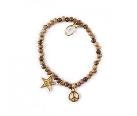 OGNX Holz Armband Stern & Peace Gold