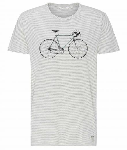 recolution T-Shirt Casual #RENNRAD white  grey melange striped | L