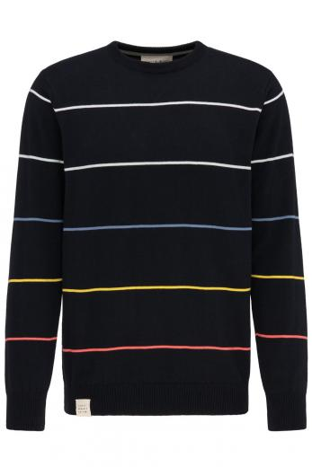 Knit Crew Neck #STRIPES Navy striped