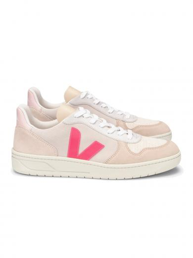 VEJA V-10 Suede Multico Natural Rose Fluo