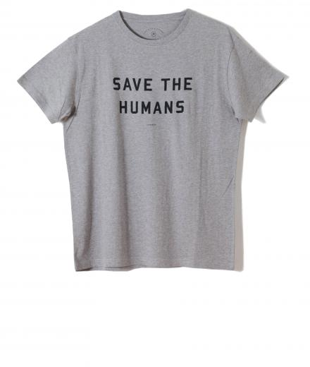 Thinking MU T-Shirt SAVE THE HUMANS Grey Melange | S