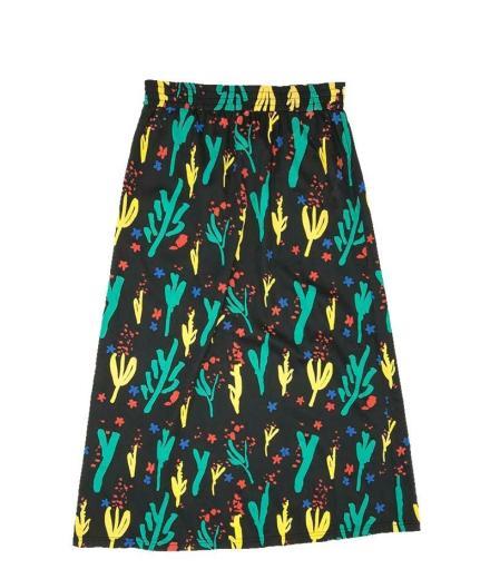 Thinking MU Flowers Skirt Pol black | S