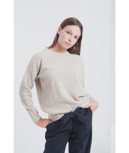 Thinking MU Ecru Lines Sweater