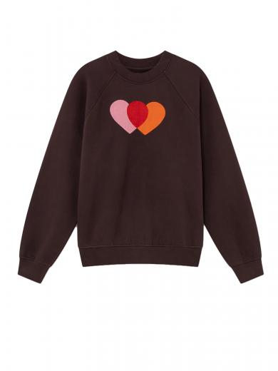 Thinking MU Orange Hearts Sweatshirt braun