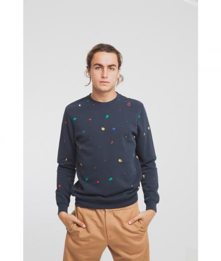 Thinking MU Matisse Leafs Sweatshirt blue total eclipse | L