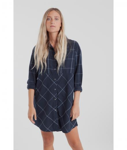 Thinking MU Blue Checks Amanda Shirty Dress M