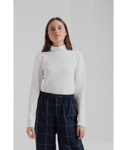Thinking MU Ellen Waffle L/S Turtle Turtleneck Top white