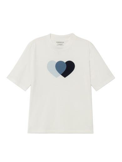 Thinking MU Blue Hearts Mock T-Shirt weiß