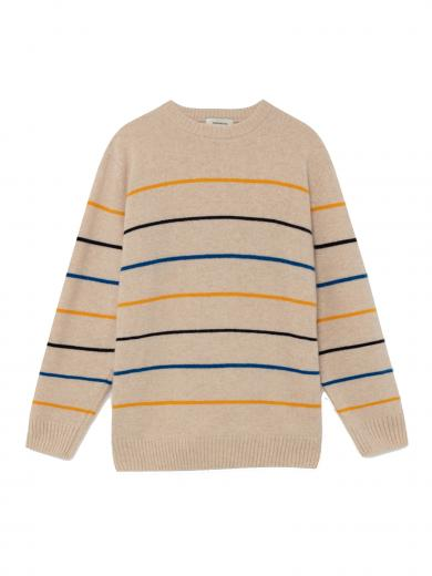 Thinking MU Shell Striped Miki Sweater shell striped
