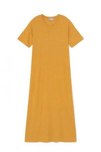 Thinking MU Hemp Oueme Dress mustard