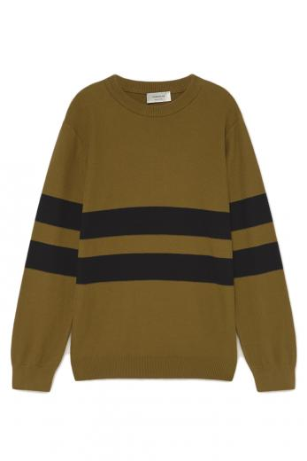 Thinking MU Olive Green Moa Knitted Sweater