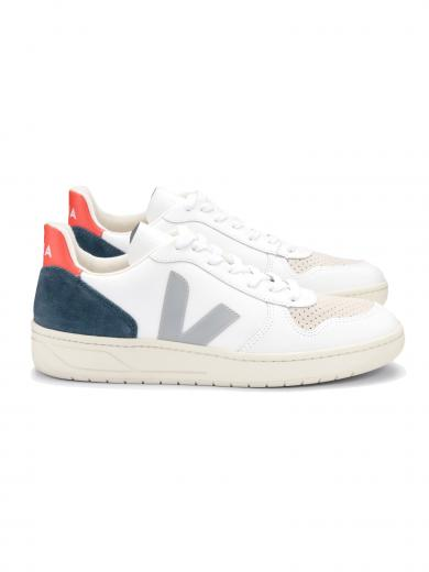 VEJA V-10 Leather Extra-White Oxford-Grey Orange-Fluo