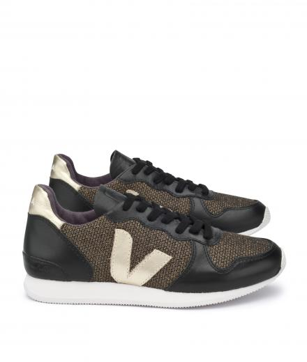 Veja Holiday Low Top Lurex Gold Black Gold