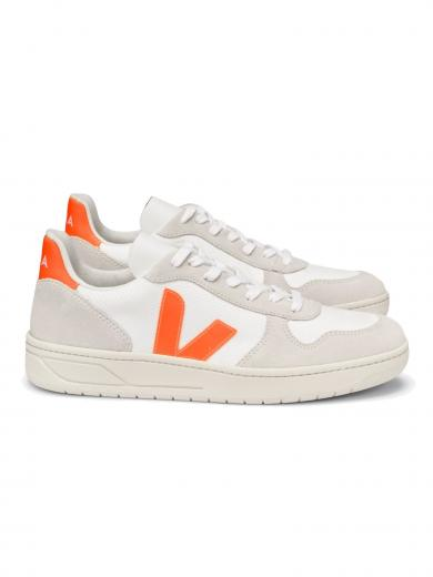 VEJA V-10 B-Mesh White Natural Orange Fluo