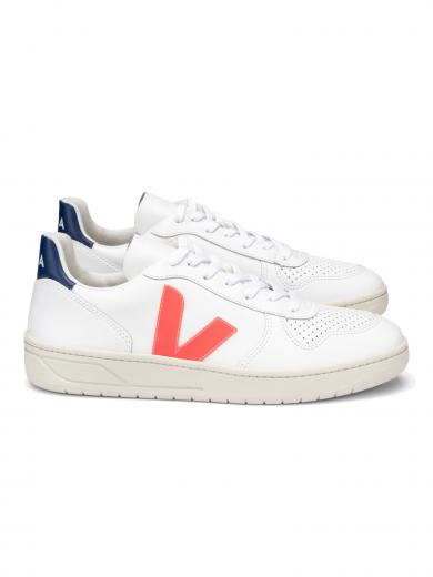 VEJA V-10 Leather Extra White Orange Fluo Cobalt