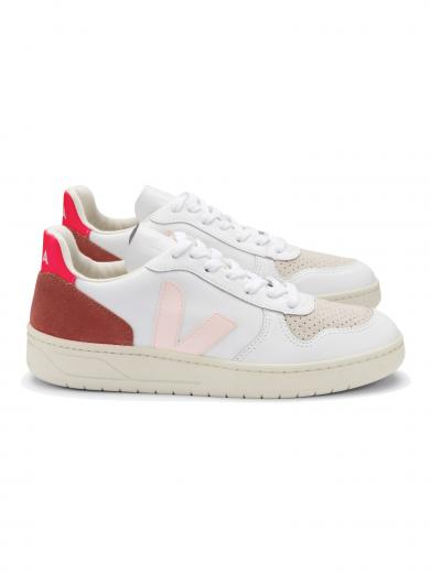 VEJA V-10 Leather Extra White Petale Rose Fluo