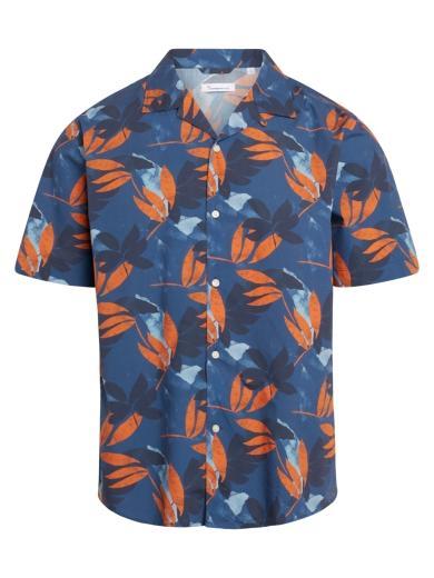 Knowledge Cotton Apparel Wave loose fit flower print shirt Dark Denim
