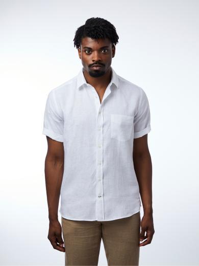 CARPASUS Shirt Linen Short Sleeve Single Colour White