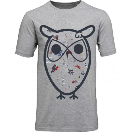 Knowledge Cotton Apparel T-Shirt W/Big Concept Owl Print - GOTS