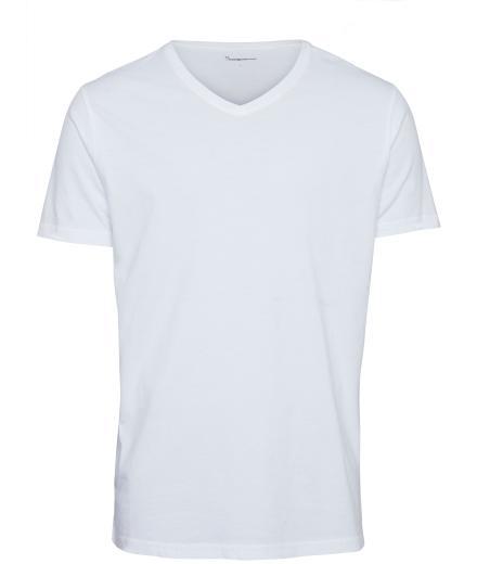 Knowledge Cotton Apparel Alder Basic V-Neck Tee Bright white